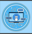laptop computer with chatbot modern chatterbot vector image vector image