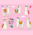 llamas in spring floral wreaths vector image vector image