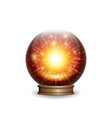 magic fire crystal ball with lights vector image