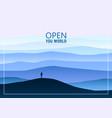 minimalistic mountain landscape open your world vector image