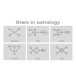 monochrome icons with symbols of stars in astrolo vector image