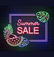 neon sign summer big sale with tropic leaves vector image vector image