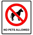 no pet allowed sign dogs vector image vector image