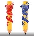 pencil dragon2 vector image vector image
