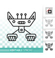 robot simple black line icon vector image vector image