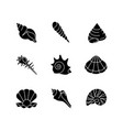 sea shells black glyph icons set on white space vector image