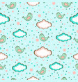 seamless background of cute birds on sky in vector image