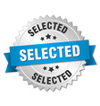 selected 3d silver badge with blue ribbon vector image vector image