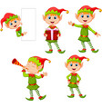 set cartoon elves boy isolated white background vector image vector image