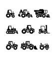 set glyph icons tractors vector image