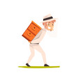 smiling beekeeper man carrying a beehive vector image vector image