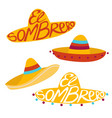 sombrero cartoon set vector image vector image