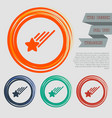 star icon on the red blue green orange buttons vector image vector image