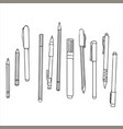 stationery art materials set of pens and pencils vector image vector image