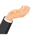 the hand that holds the gold coin gift cartoon vector image vector image