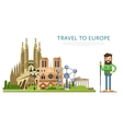 Travel to Europ banner with famous attractions vector image vector image