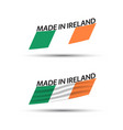 two modern colored flags with irish tricolor vector image vector image