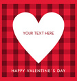 White heart with text on the red checkered vector image