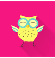 Yellow flat owl over pink vector image vector image