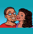 african couple kissing smiling vector image vector image