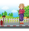 An old woman with a cane standing at the roadside vector image vector image