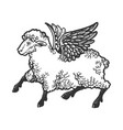 angel flying sheep engraving vector image vector image