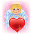 Angel little boy and Valentines Day heart vector image vector image