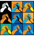 arm wrestling vector image