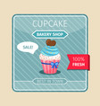 blue cupcake with chocolate heart card vector image vector image