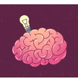 Brain with lamp vector image vector image