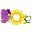 butterfly with purple wings and yellow flower vector image vector image