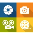 Camera and shutter icons vector image vector image