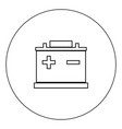 Car battery icon black color in circle isolated