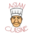 Cartoon asian cuisine chef character vector image