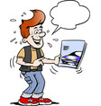 cartoon of a young man there looking at a new vector image vector image