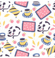 cat and cup tea or coffee seamless pattern vector image