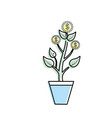 coins plant and cash money currency vector image vector image