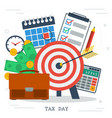 concept of tax day in flat style money calendar vector image vector image