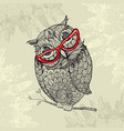 doodle style owl in red eyeglasses vector image