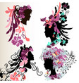 fashion abstract female face silhouettes vector image