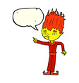 fire spirit cartoon with speech bubble vector image vector image