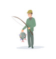 fisherman holding fishing rod and caught fish vector image vector image