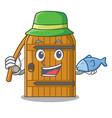fishing large wooden door with cartoon handle vector image