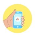 flat concept - hand with mobile phone of vector image vector image