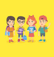 group of school students with backpacks and books vector image vector image
