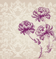 hand drawn border vertical bouquet flowers peony vector image