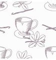 Hand drawn coffee cup with vanilla seamless vector image vector image