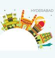 hyderabad city skyline with color buildings and vector image vector image