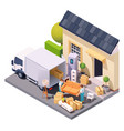 isometric movers at house relocation vector image