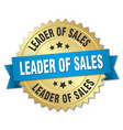 leader of sales 3d gold badge with blue ribbon vector image vector image